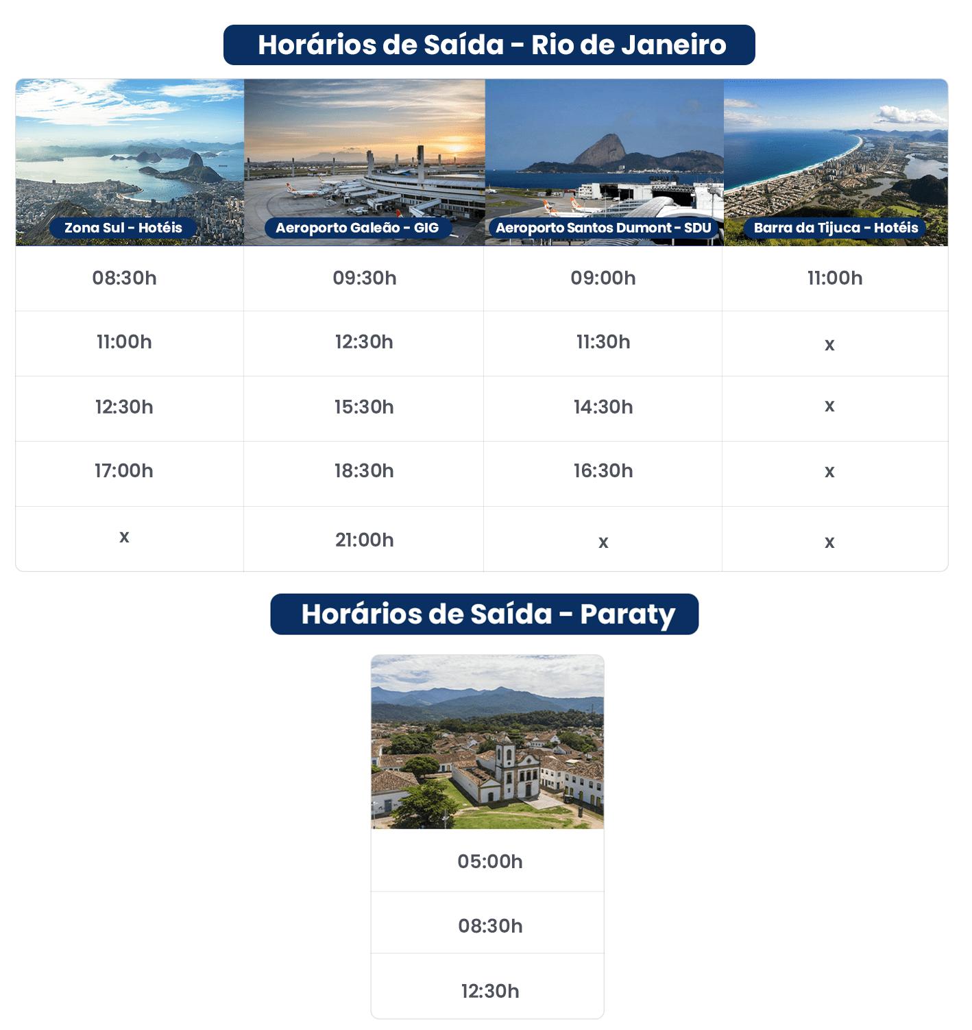 TABELA DE HORARIOS TRANSFER DO RIO DE JANEIRO PARA PARATY